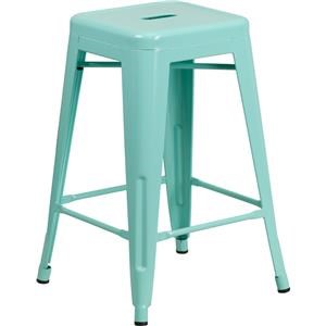 24'' High Backless Mint Green Indoor-Outdoor Counter Height Stool