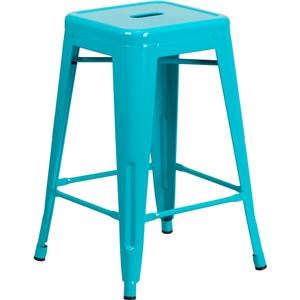 24'' High Backless Teal Indoor-Outdoor Counter Height Stool