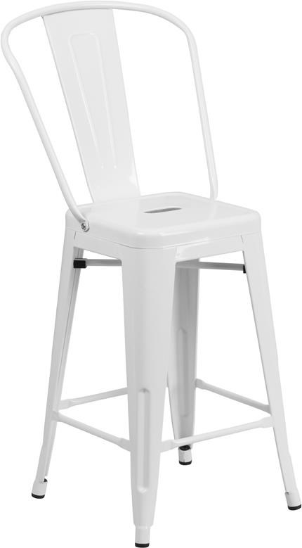 Metal Indoor-Outdoor Chairs 24'' High White Metal Indoor-Outdoor Counter by Winslow Home at Sam Levitz Furniture