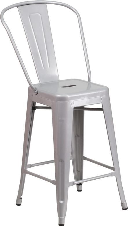 Metal Indoor-Outdoor Chairs 24'' High Silver Metal Indoor-Outdoor Counte by Winslow Home at Sam Levitz Furniture