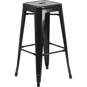 30'' High Backless Black Metal Indoor-Outdoor Barstool with Square Seat