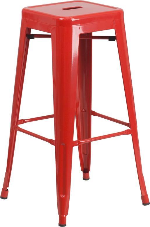 30'' High Backless Red Metal Indoor-Outdoor