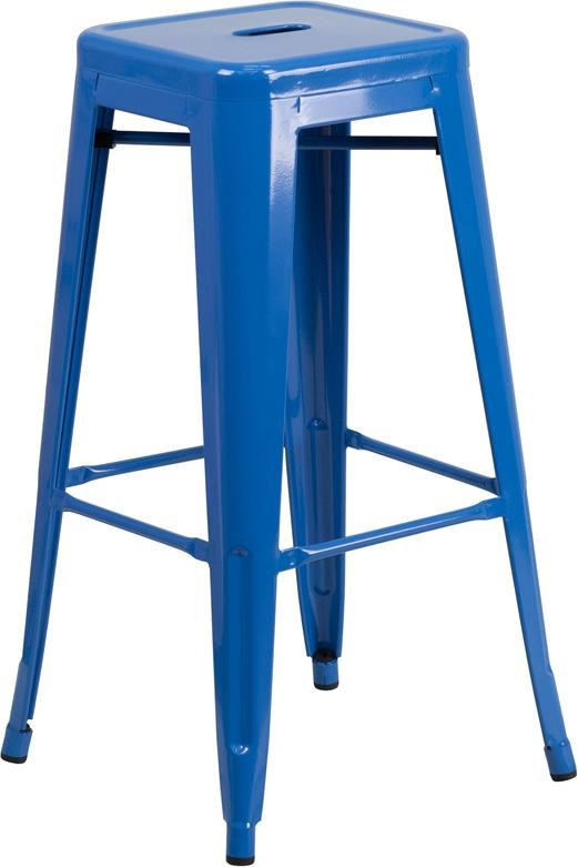 Metal Indoor-Outdoor Chairs 30'' High Backless Blue Metal Indoor-Outdoor by Winslow Home at Sam Levitz Furniture