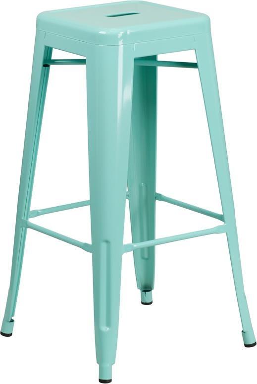30'' High Backless Mint Green Indoor-Outdoor