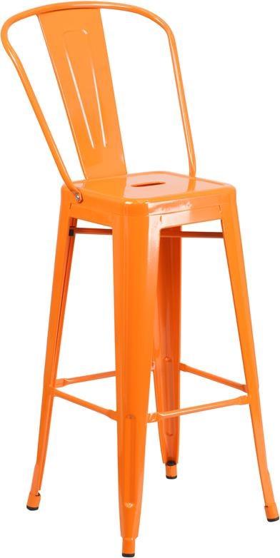 Metal Indoor-Outdoor Chairs 30'' High Orange Metal Indoor-Outdoor Barsto by Winslow Home at Sam Levitz Furniture