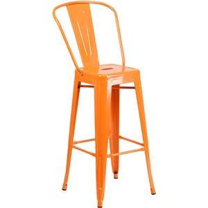 30'' High Orange Metal Indoor-Outdoor Barstool with Back