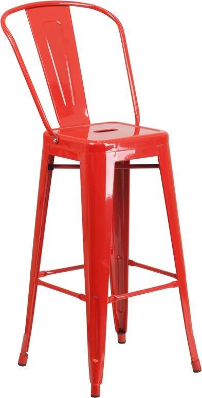 30'' High Red Metal Indoor-Outdoor Barstool
