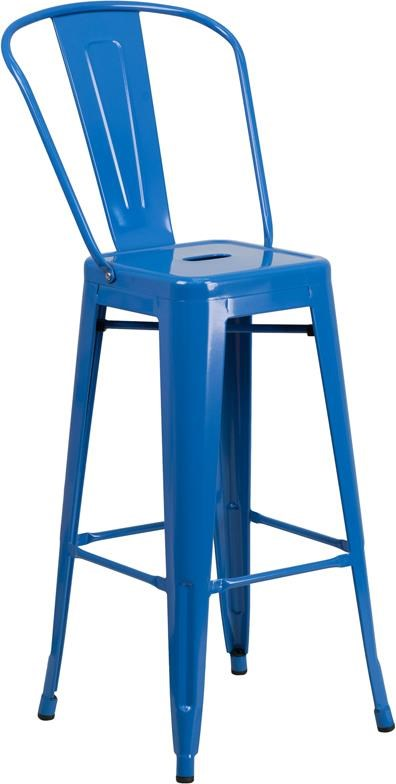 Metal Indoor-Outdoor Chairs 30'' High Blue Metal Indoor-Outdoor Barstool by Winslow Home at Sam Levitz Furniture