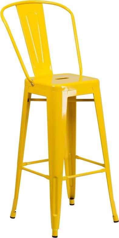 30'' High Yellow Metal Indoor-Outdoor Barsto