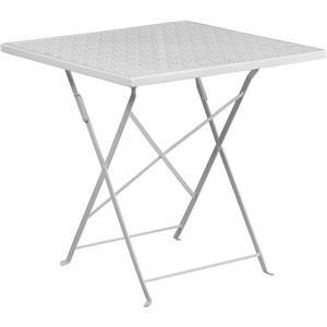 28'' Square White Indoor-Outdoor Steel Foldi