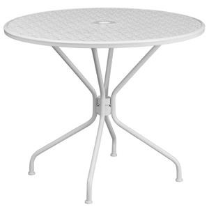 35.25'' Round White Indoor-Outdoor Steel Patio Table