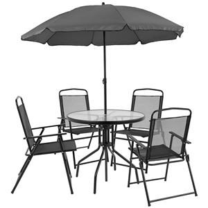 Outdoor Dining Set with 4 Folding Chairs, Table and Umbrella