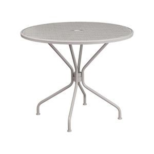 5 Piece Round Gray Steel Patio Table and 4 Gray Steel Arm Chairs with Square Backs Set