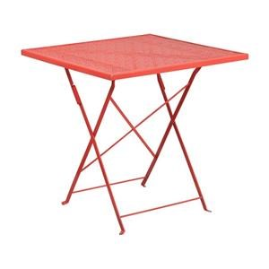 3 Piece Coral Square Steel Folding Patio Table and 2 Coral Steel Arm Chairs Set