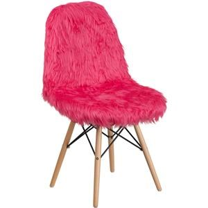Hot Pink Faux Fur Accent Chair
