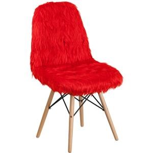 Red Faux Fur Accent Chair