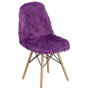 Purple Faux Fur Accent Chair