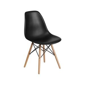 2 Plastic Dining Side Chairs with Wood Legs Set