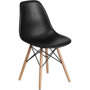 Plasitc Dining Chair With Wood Legs