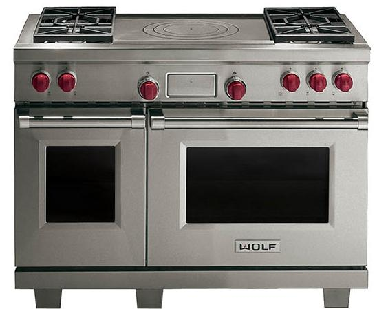 """Dual Fuel Ranges 48"""" Freestanding Dual Fuel Range by Wolf at Furniture and ApplianceMart"""