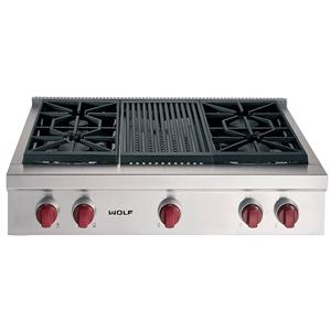 """36"""" Built-In Gas Rangetop with 4 Sealed Burners and Charbroiler"""