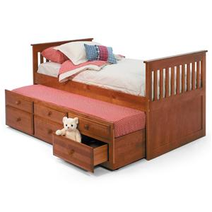 Twin Mission Bed with Twin Trundle and 3 Underbed Storage Drawers