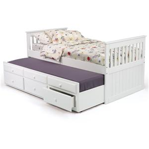 Twin Mission Bed with Twin Trundle Unit and 3 Drawers