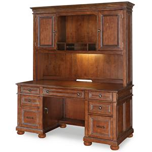 6-Drawer Executive Desk with Lighted Hutch