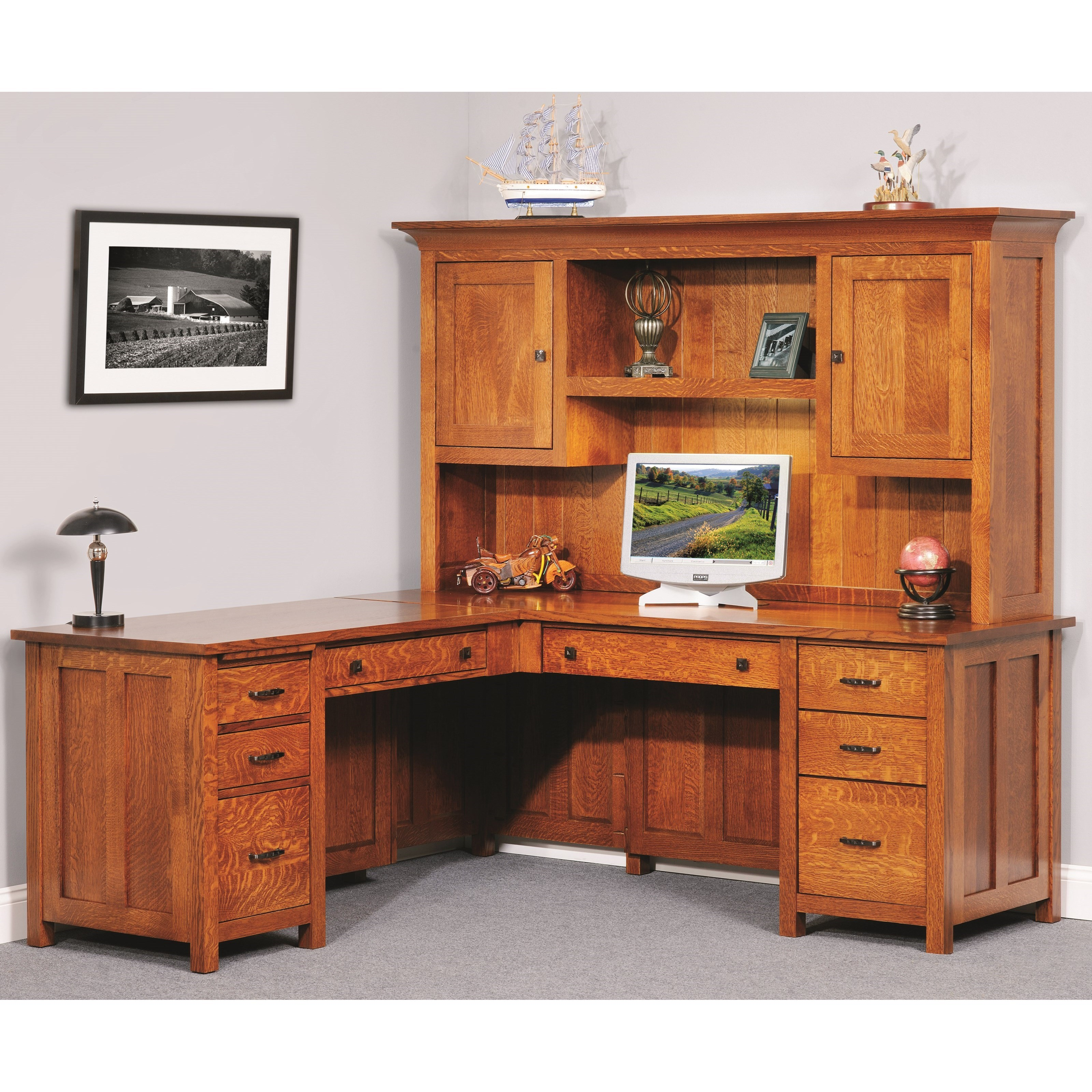 Coventry Mission L Desk & Hutch by Y & T Woodcraft at Saugerties Furniture Mart