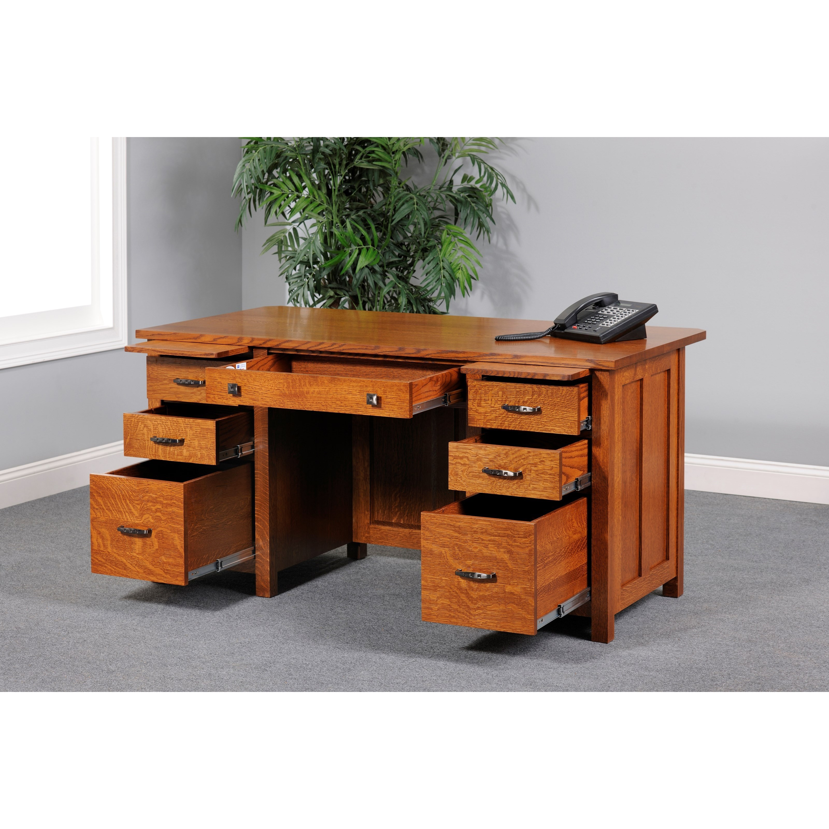 "Coventry Mission 60"" Executive Desk by Y & T Woodcraft at Saugerties Furniture Mart"