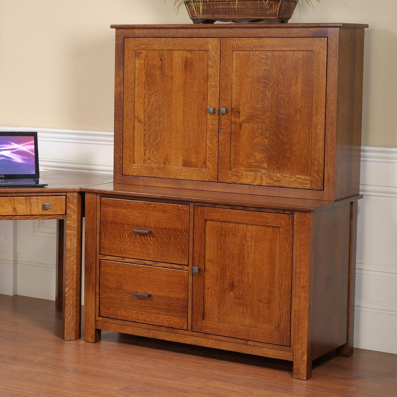 """Mission Modular 48"""" Credenza and Hutch by Y & T Woodcraft at Saugerties Furniture Mart"""