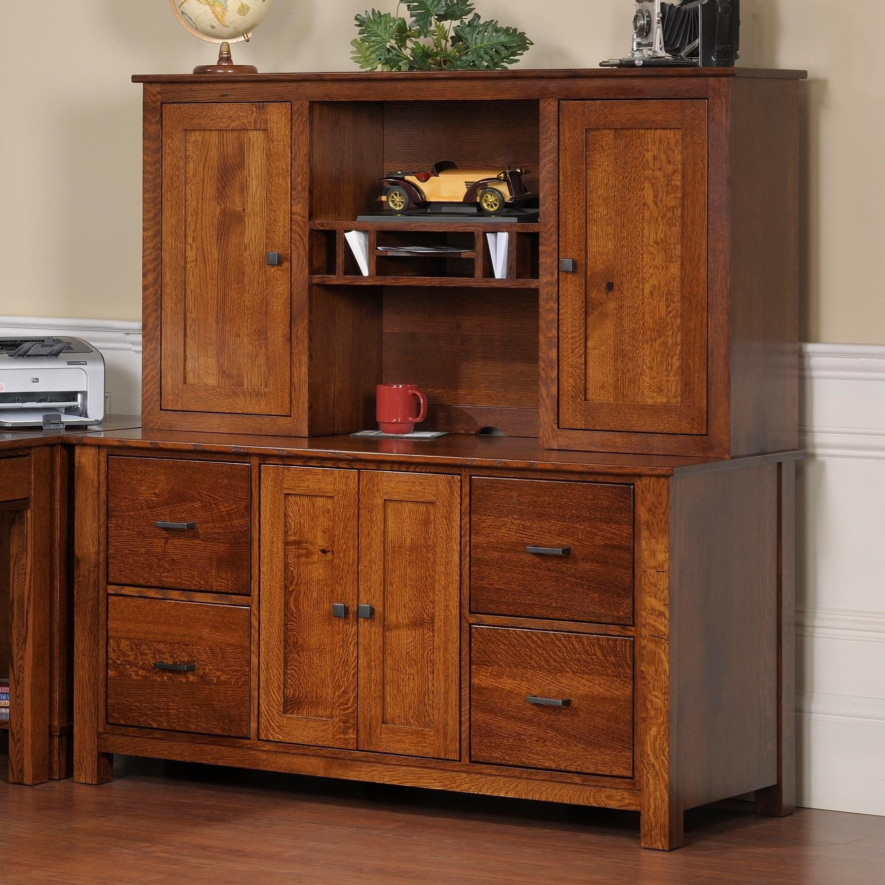 "Mission Modular 60"" Credenza and Hutch by Y & T Woodcraft at Saugerties Furniture Mart"