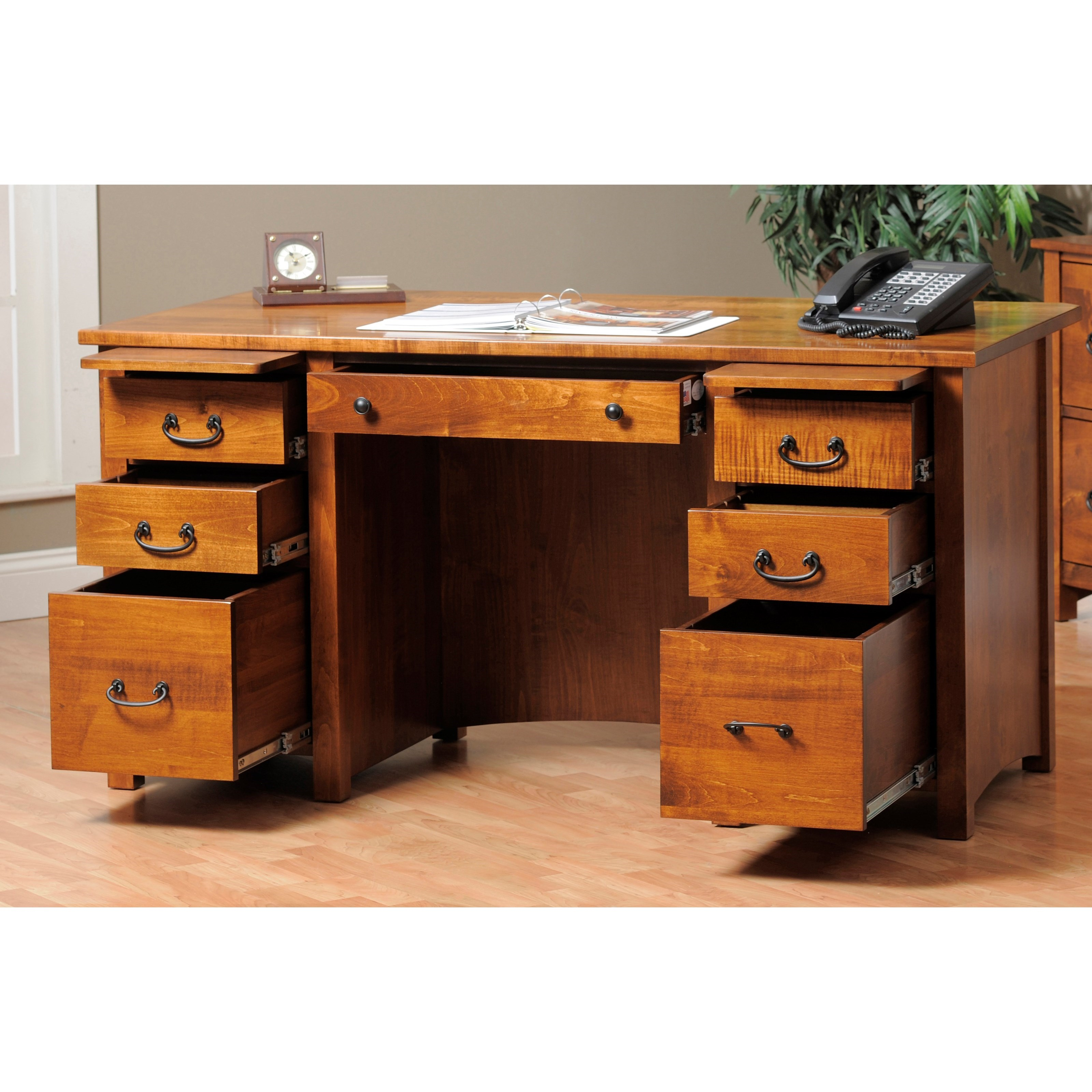 Rivertown Home Office Executive Desk by Y & T Woodcraft at Saugerties Furniture Mart