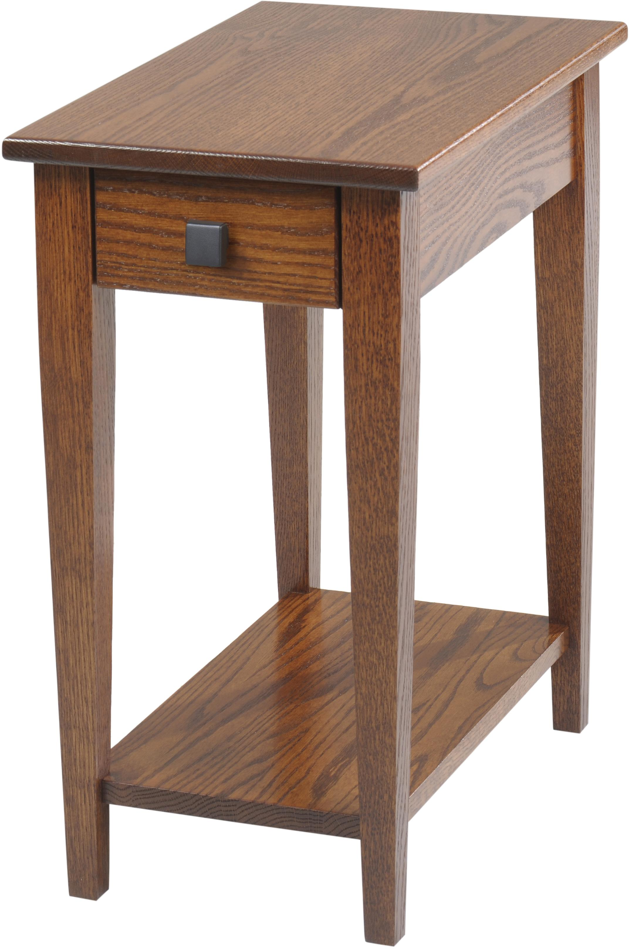 Woodland Shaker Chairside Table with Shelf by Y & T Woodcraft at Saugerties Furniture Mart