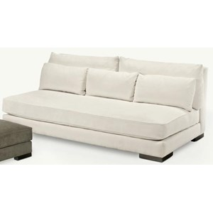 Armless Sofa with Large Block Feet