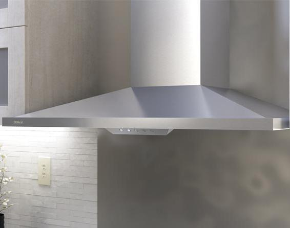 """Essentials Collection- Chimney Wall and Downdraft 36"""" Wall-Mount Range Hood  by Zephyr at Furniture and ApplianceMart"""