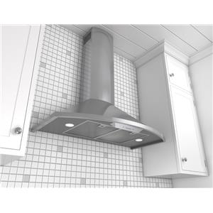"""Zephyr Essentials Collection- Chimney Wall and Downdraft 30"""" Wall Mount Chimney Range Hood"""