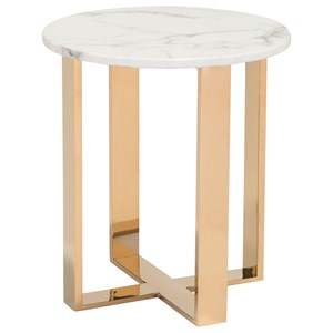 Faux Marble Round End Table