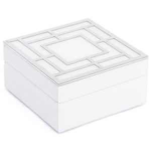 White Glass Square Box Small