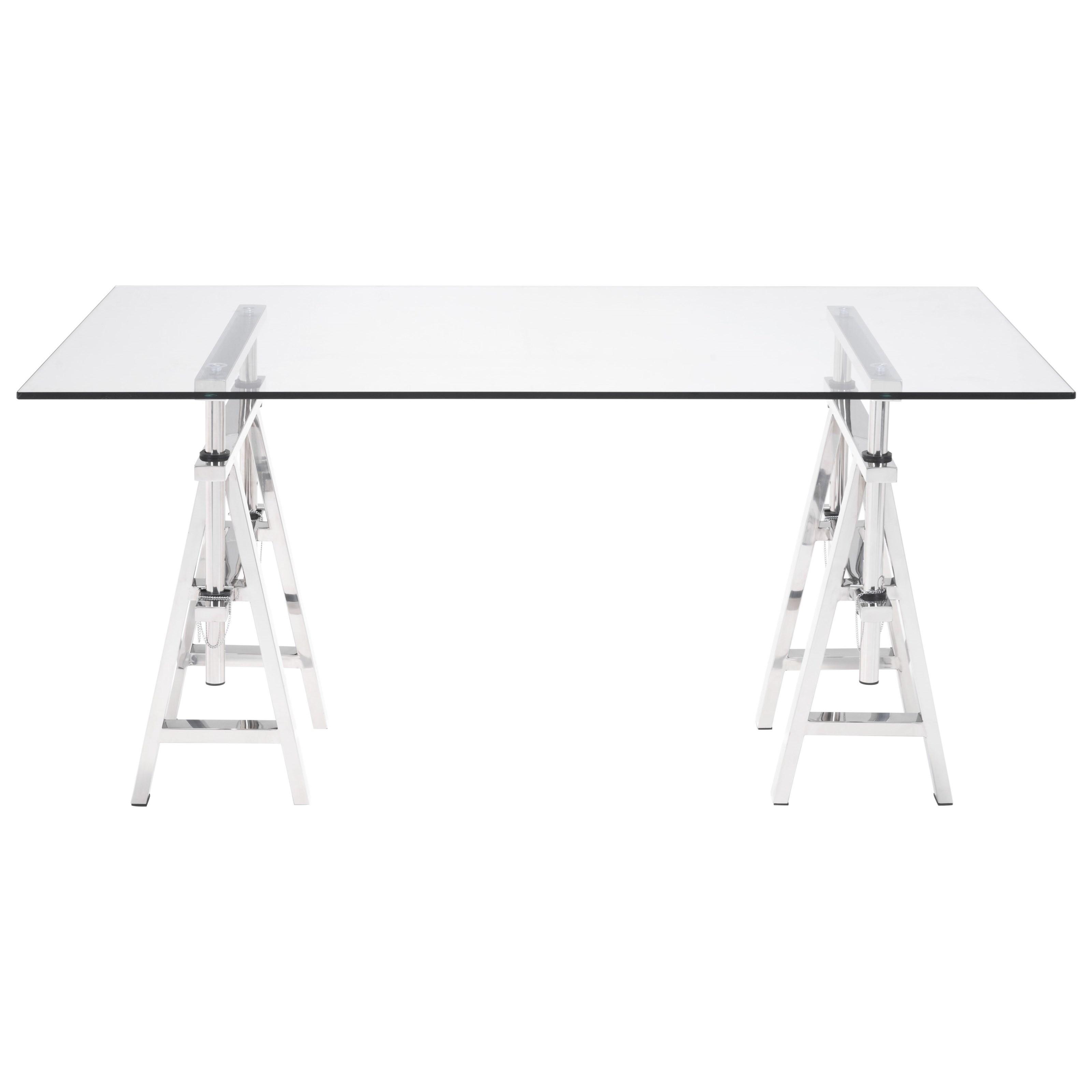 Lado Chrome Desk by Zuo at Nassau Furniture and Mattress
