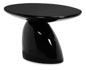 Modern Fiberglass Occasional Table with Pedestal Base and Oval Top
