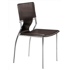 Set of 4 Steel and Leatherette Side Chairs