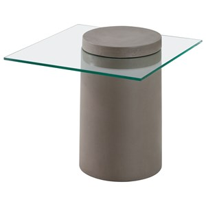Glass Top Column Side Table