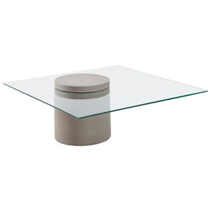 Glass Top Column Coffee Table