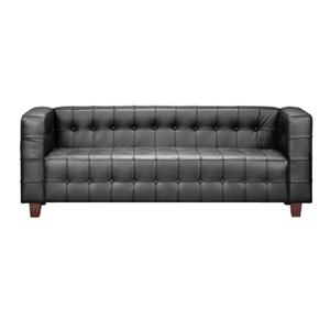 Fully Button Tufted Leather Sofa