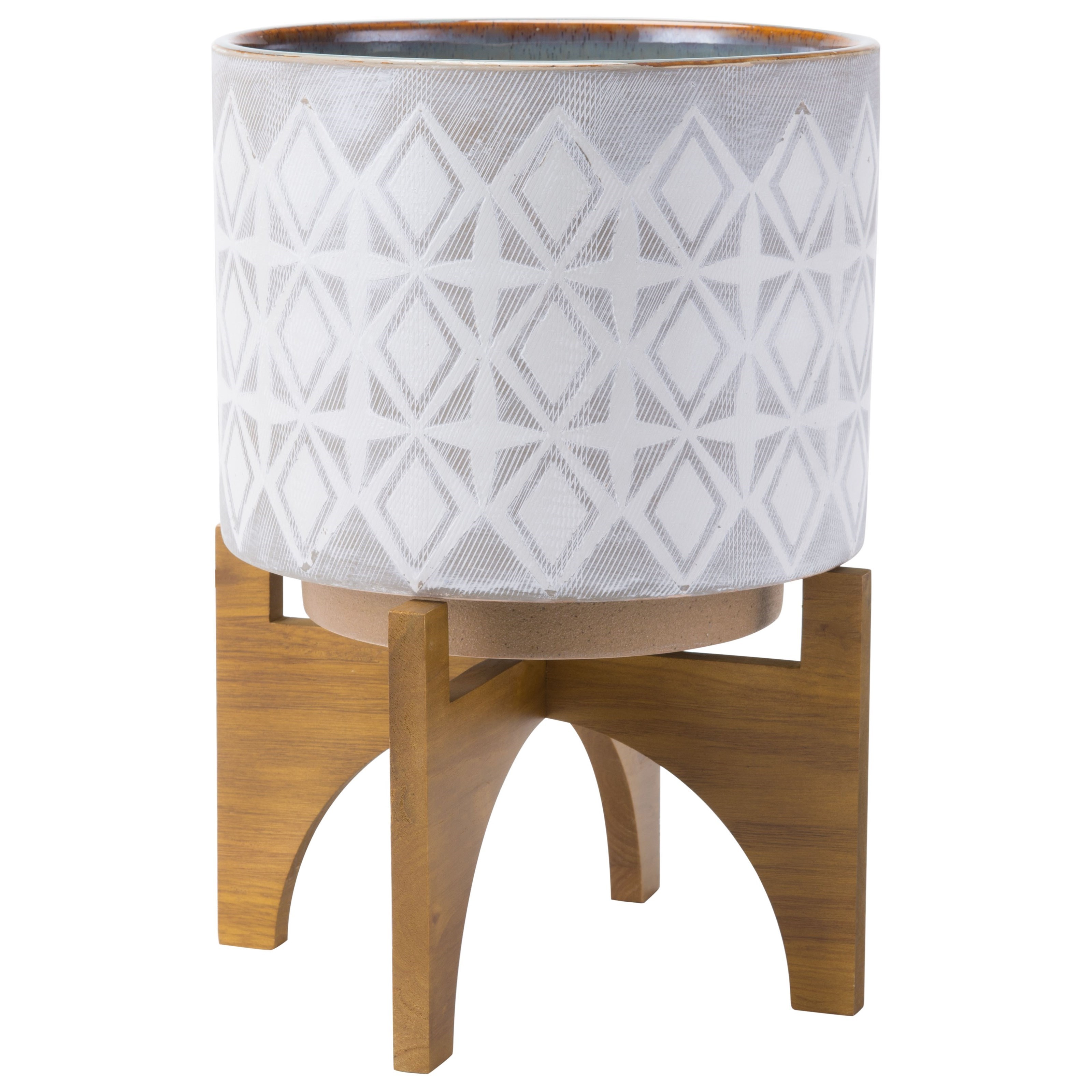 Planters Planter with Wooden Base Large by Zuo at Nassau Furniture and Mattress