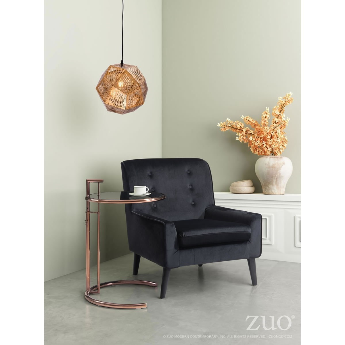 Pure Lighting Bald Ceiling Lamp Gold by Zuo at Nassau Furniture and Mattress