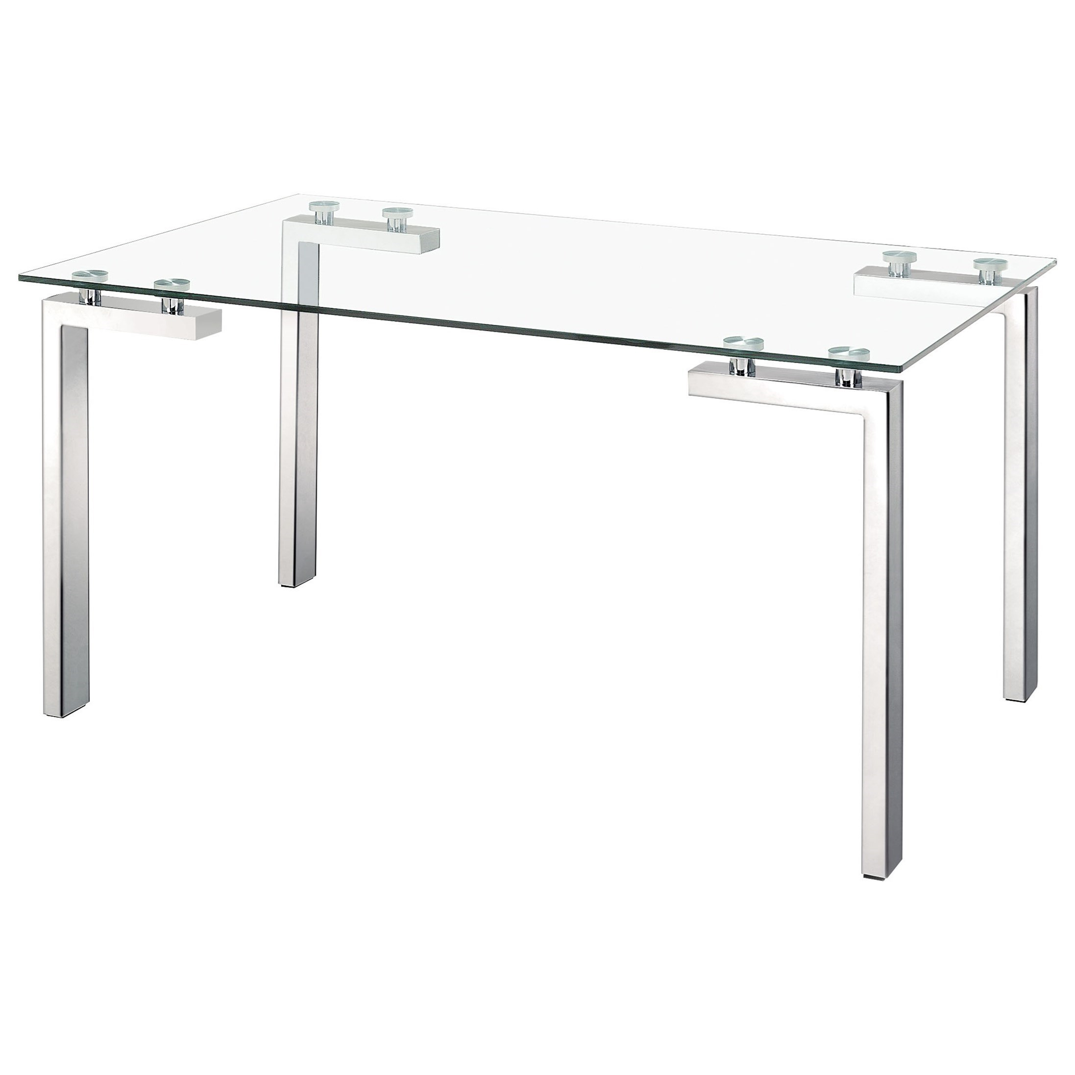 Roca Stainless Steel Dining Table by Zuo at Nassau Furniture and Mattress