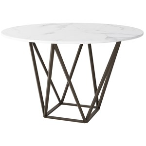 Round Faux Marble Dining Table