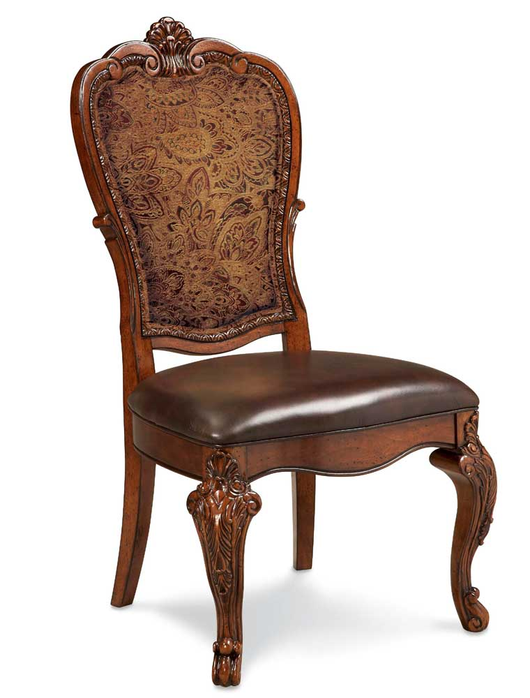 A r t furniture inc old world upholstered back side chair for A r t dining chairs